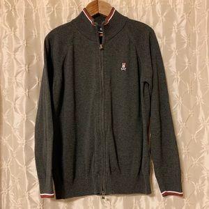 Psycho Bunny Gray Zip Up Cardigan Sweater